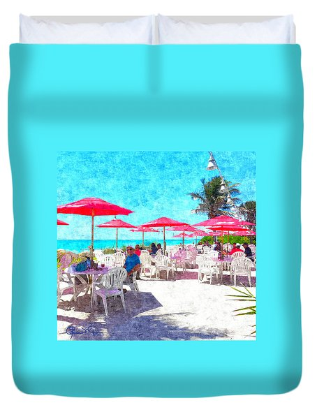 Lunch With Your Feet In The Sand Duvet Cover