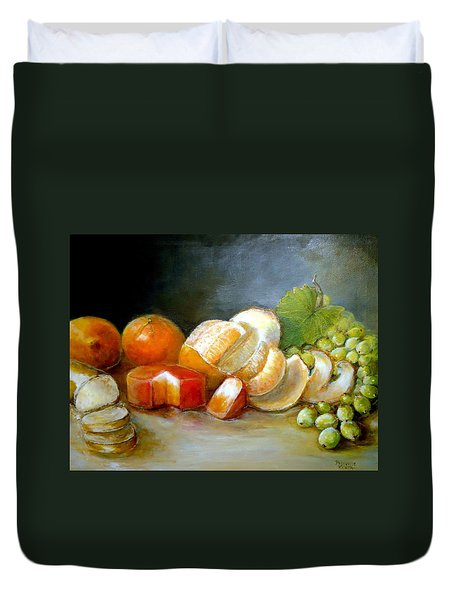 Duvet Cover featuring the painting Luncheon Delight - Still Life by Bernadette Krupa
