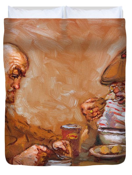 Lunchtime At Tim  Duvet Cover by Ylli Haruni
