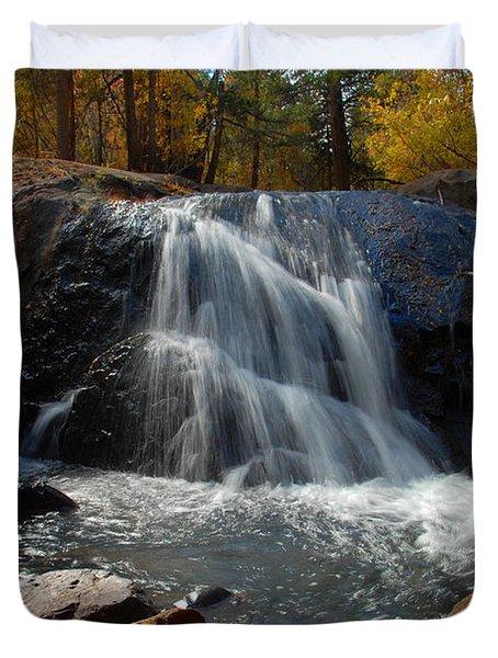 Duvet Cover featuring the photograph Lundy Creek Cascades by Lynn Bauer