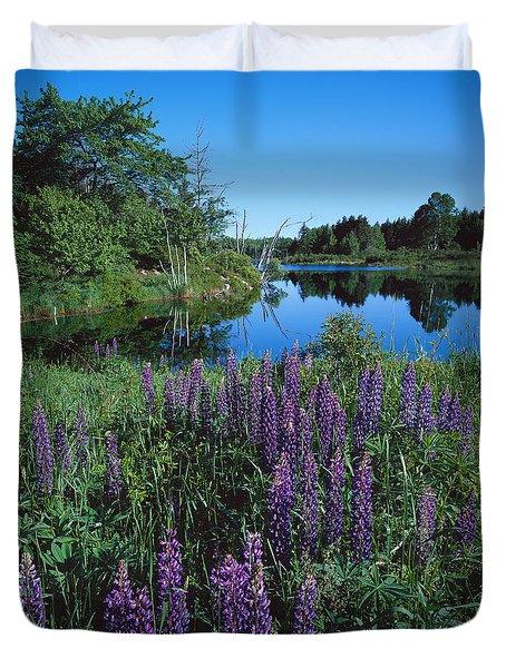 Lupin And Lake-sq Duvet Cover