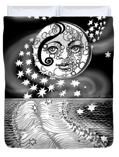 Duvet Cover featuring the digital art Lure Of Moonlight by Carol Jacobs
