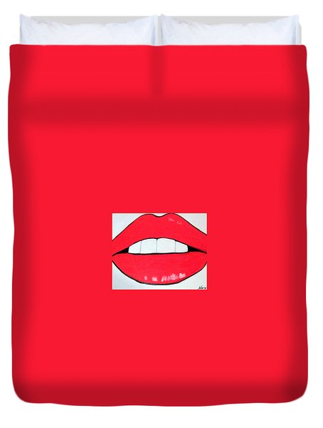 Duvet Cover featuring the painting Luscious Lips by Nora Shepley