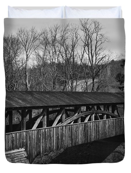 Luther's Mill Covered Bridge Black And White Duvet Cover