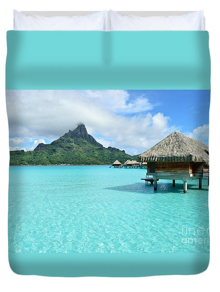 Luxury Overwater Vacation Resort On Bora Bora Island Duvet Cover