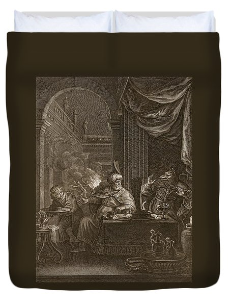 Lycaon Metamorphosed Into A Wolf, 1731 Duvet Cover by Bernard Picart