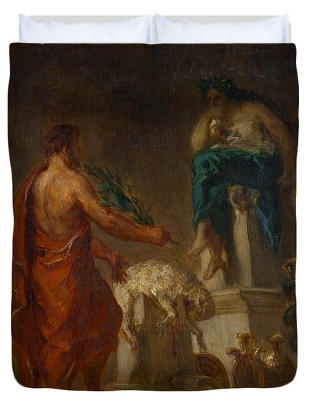 Lycurgus Consulting The Pythia Duvet Cover by Eugene Delacroix
