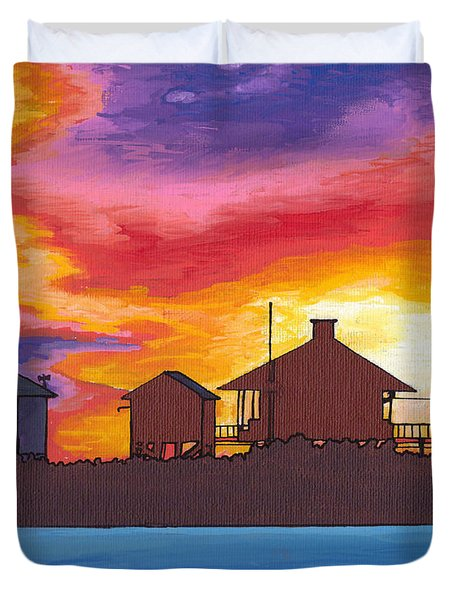 Lydia Anne Lighthouse At Sunset Duvet Cover