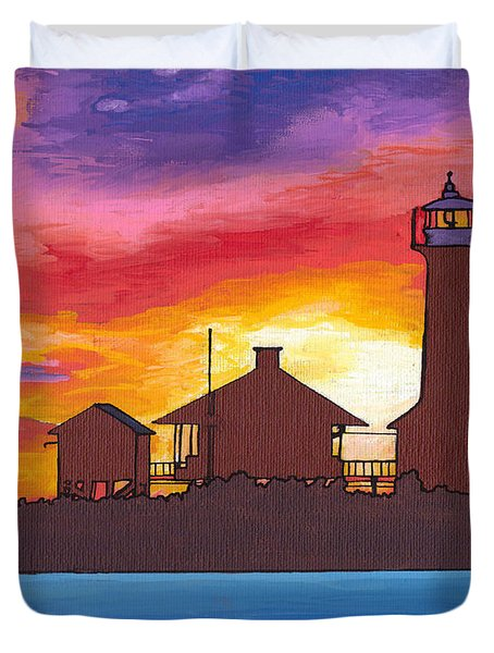 Lydia Anne Lighthouse At Sunset Duvet Cover