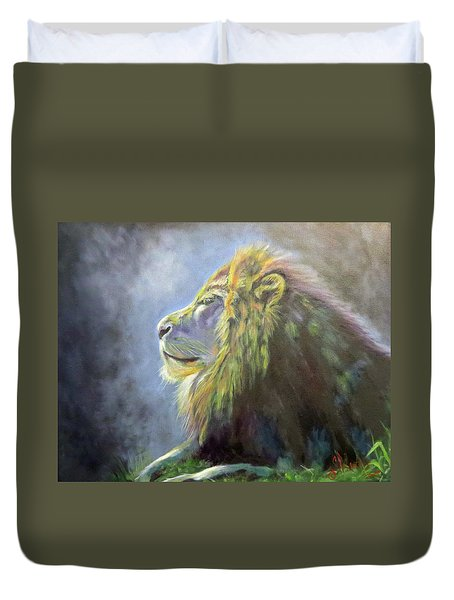 Lying In The Moonlight, Lion Duvet Cover