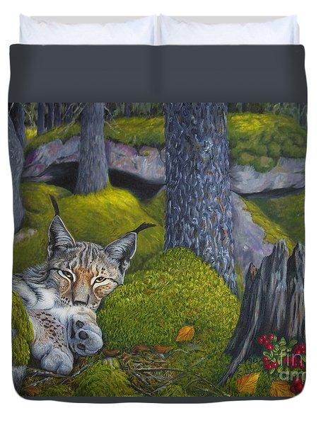 Lynx In The Sun Duvet Cover by Veikko Suikkanen