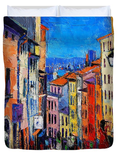 Lyon Colorful Cityscape Duvet Cover