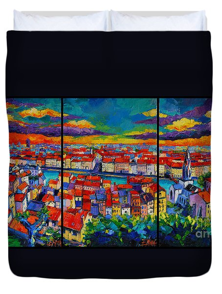 Lyon Panorama Triptych Duvet Cover
