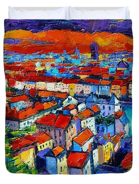 Lyon View - Triptych Left Panel Duvet Cover