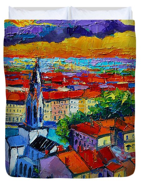 Lyon View - Triptych Right Panel Duvet Cover