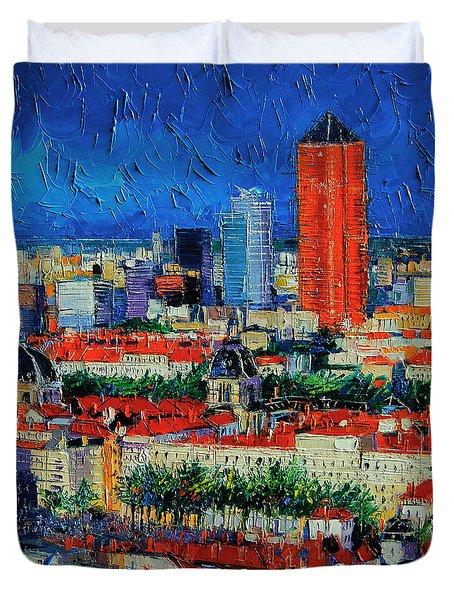 Lyon View From Jardins Des Curiosites  Duvet Cover