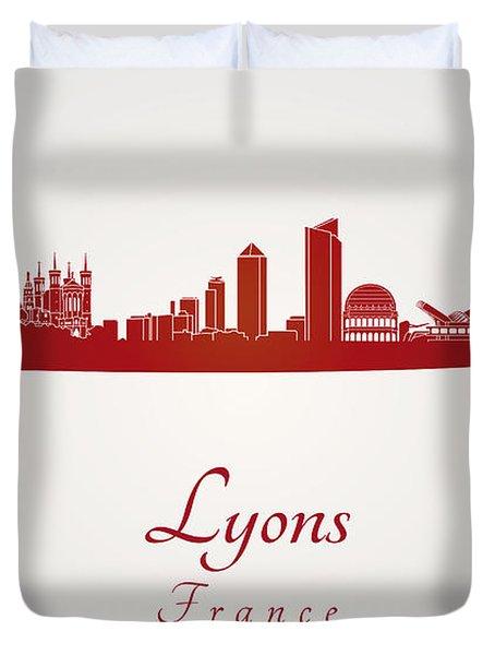 Lyons Skyline In Red Duvet Cover