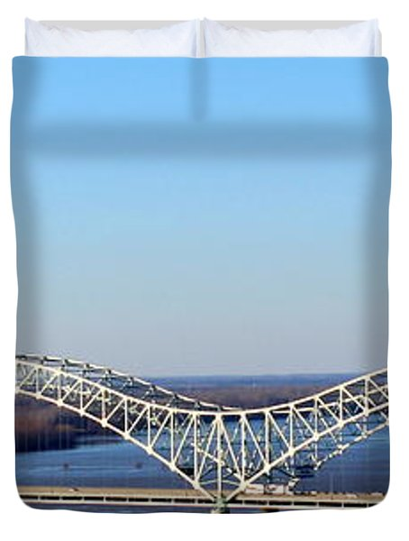 Duvet Cover featuring the photograph M Bridge Memphis Tennessee by Barbara Chichester