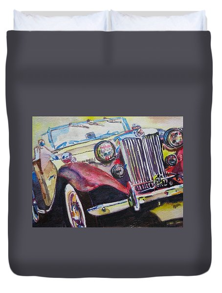 M G Car  Duvet Cover by Anna Ruzsan