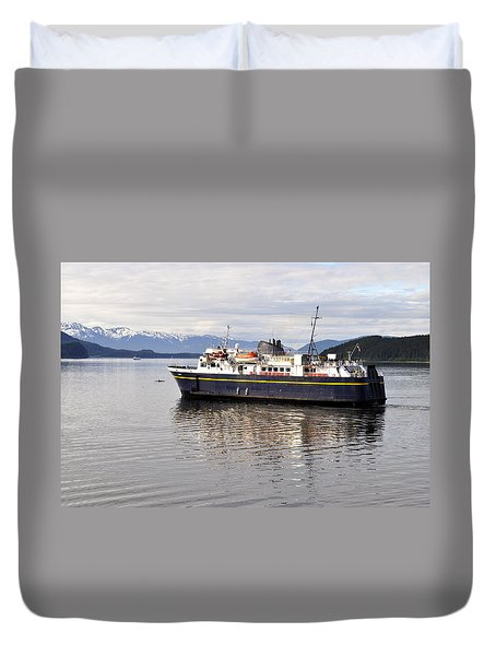 Duvet Cover featuring the photograph M/v Leconte by Cathy Mahnke