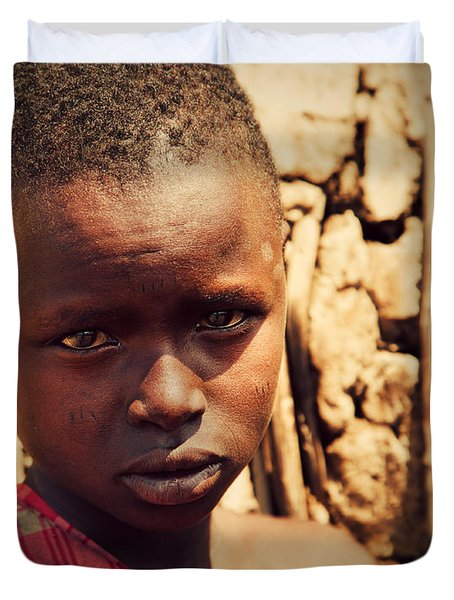 Maasai Child Portrait In Tanzania Duvet Cover by Michal Bednarek