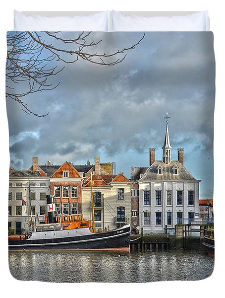 Maassluis Harbour Duvet Cover