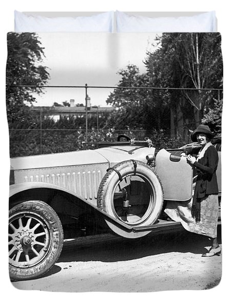 Mabel Normand In A Rolls Royce Duvet Cover
