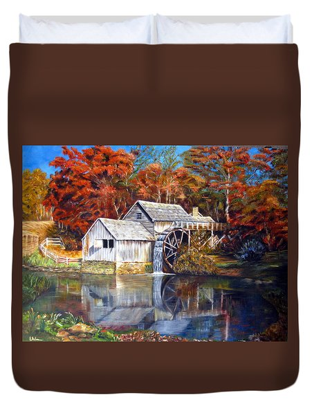 Duvet Cover featuring the painting Mabry Mill Blue Ridge Virginia by LaVonne Hand