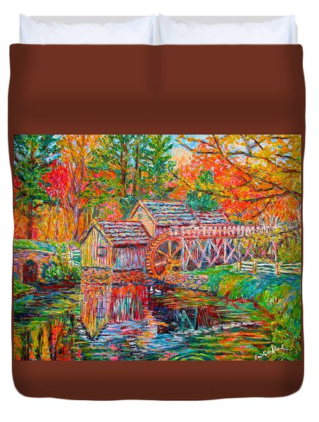 Mabry Mill In Fall Duvet Cover