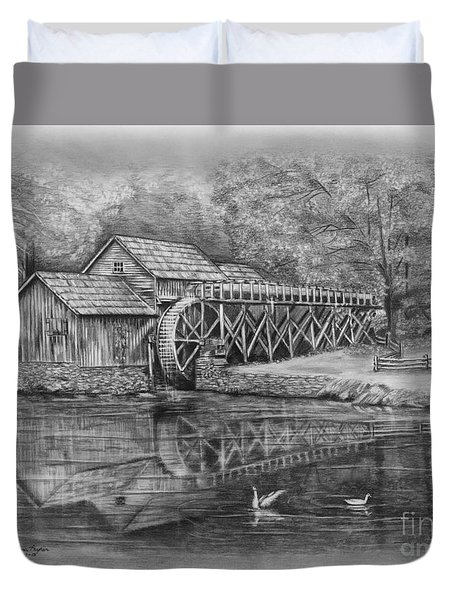Mabry Mill Pencil Drawing Duvet Cover