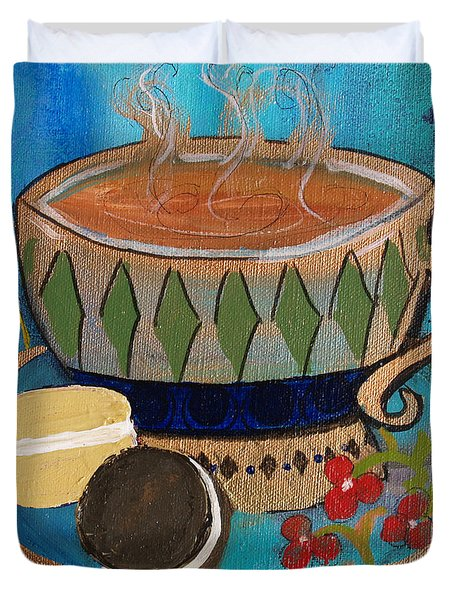 Duvet Cover featuring the painting Macaroons And Tea by Robin Maria Pedrero