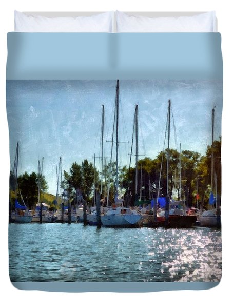 Macatawa Masts Duvet Cover by Michelle Calkins