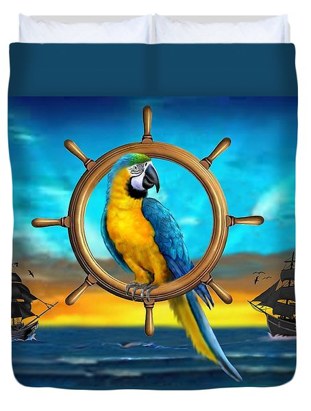 Macaw Pirate Parrot Duvet Cover by Glenn Holbrook