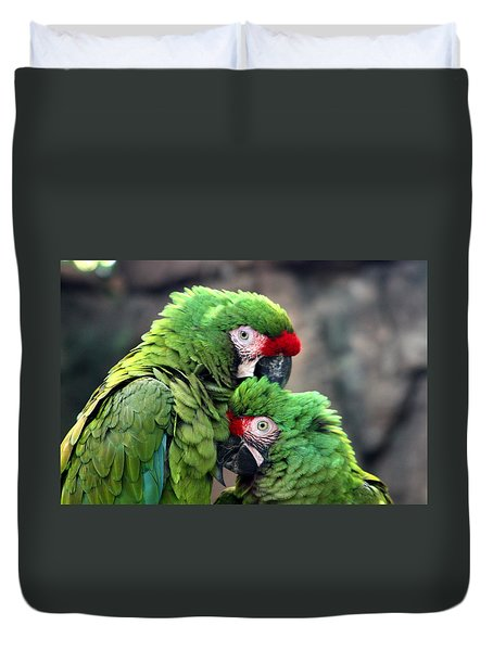 Duvet Cover featuring the photograph Macaws In Love by Diane Merkle
