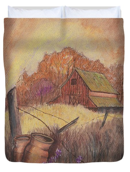 Duvet Cover featuring the drawing Macgregors Barn Pstl by Carol Wisniewski