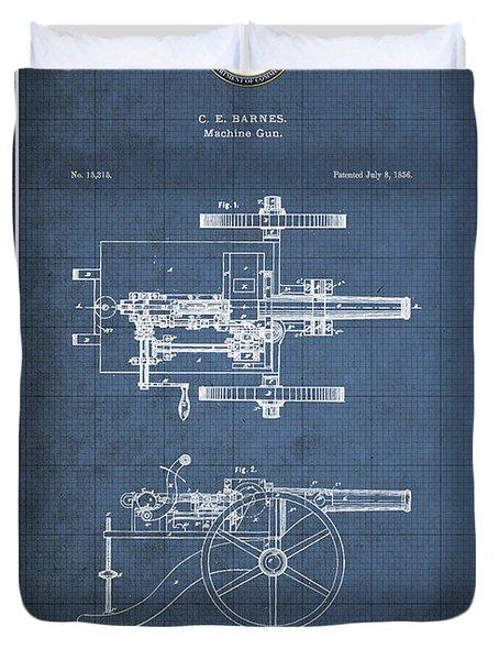 Machine Gun - Automatic Cannon By C.e. Barnes - Vintage Patent Blueprint Duvet Cover
