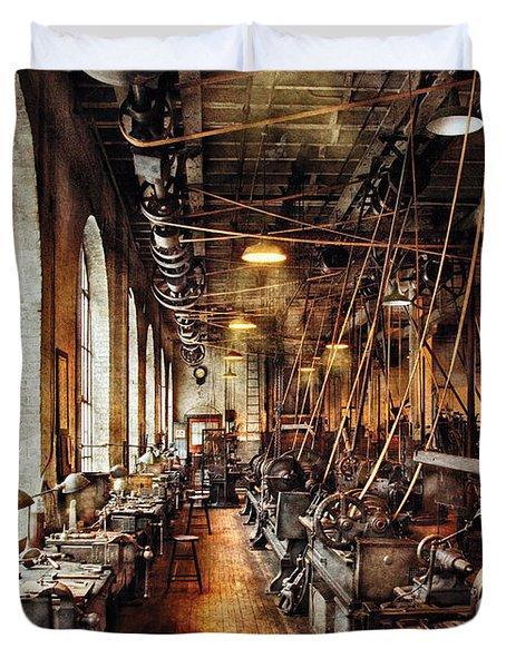 Machinist - Machine Shop Circa 1900's Duvet Cover by Mike Savad