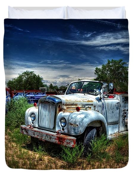 Duvet Cover featuring the photograph Mack Fire Truck And Graffiti Fire Truck by Ken Smith