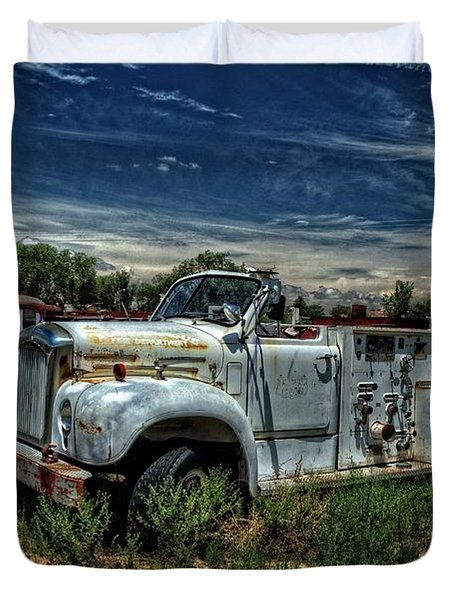 Duvet Cover featuring the photograph Mack Fire Truck by Ken Smith