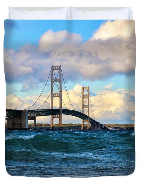 Mackinac Among The Waves Duvet Cover by Rachel Cohen