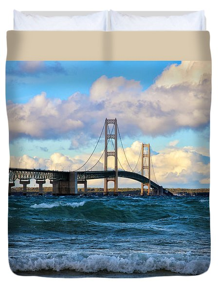 Mackinac Among The Waves Duvet Cover