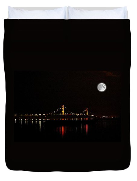 Duvet Cover featuring the photograph Mackinac Bridge And Moon by Randy Pollard