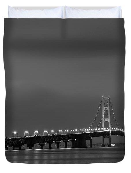 Mackinac Bridge Black And White Duvet Cover by Sebastian Musial