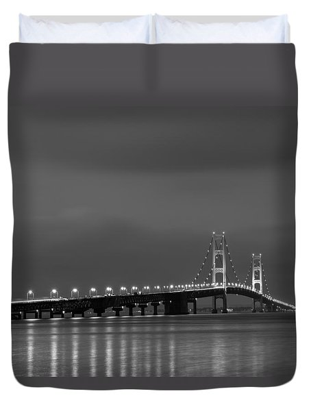 Mackinac Bridge Black And White Duvet Cover