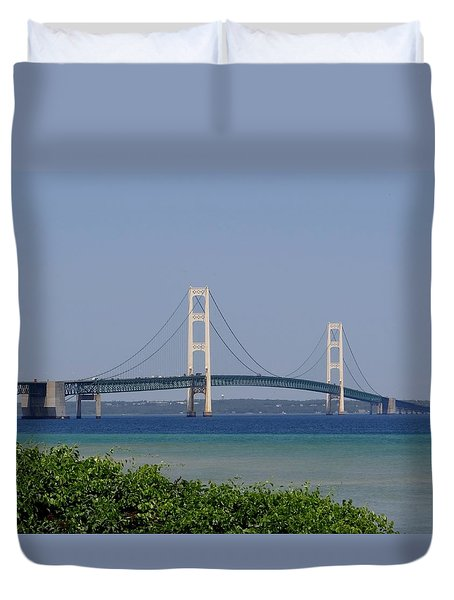 Mackinac Bridge Blue Duvet Cover