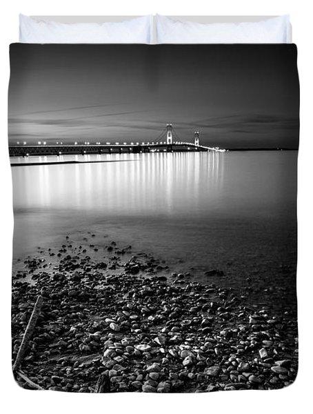 Mackinac Bridge Bw Duvet Cover by Larry Carr