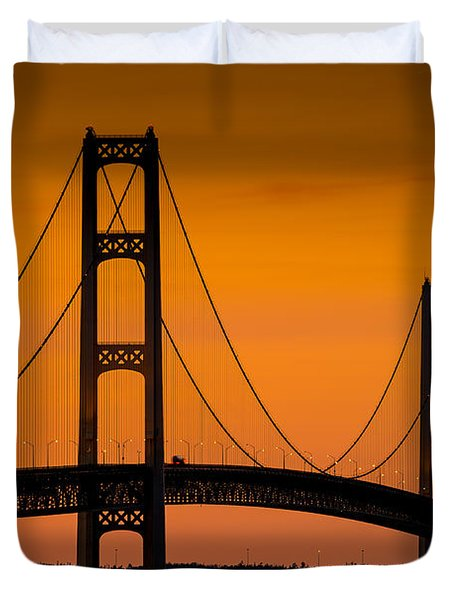 Mackinac Bridge Sunset Duvet Cover