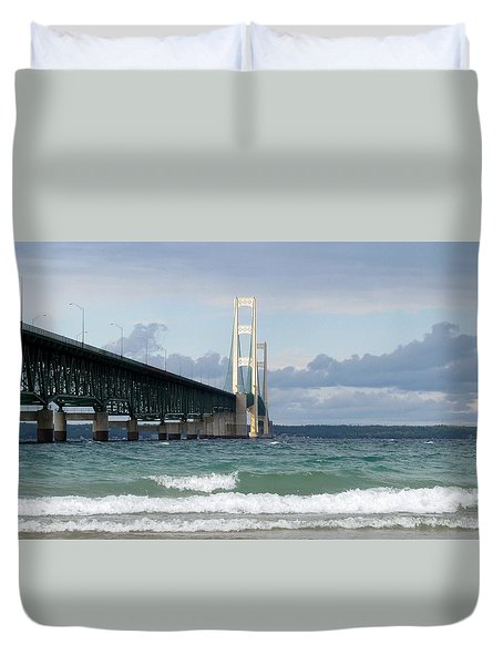 Mackinac Bridge The Mighty Mac Duvet Cover