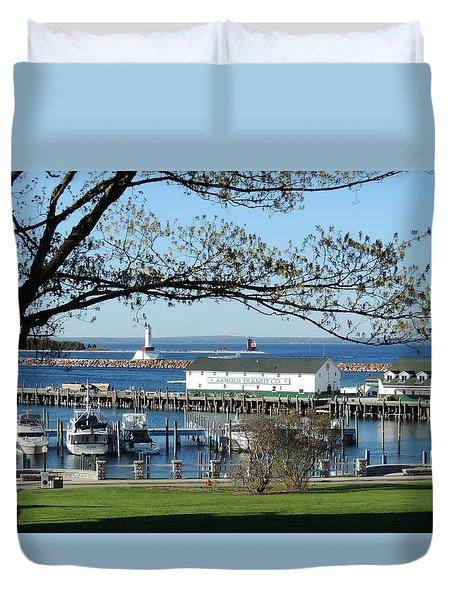 Mackinac Island Harbor Duvet Cover
