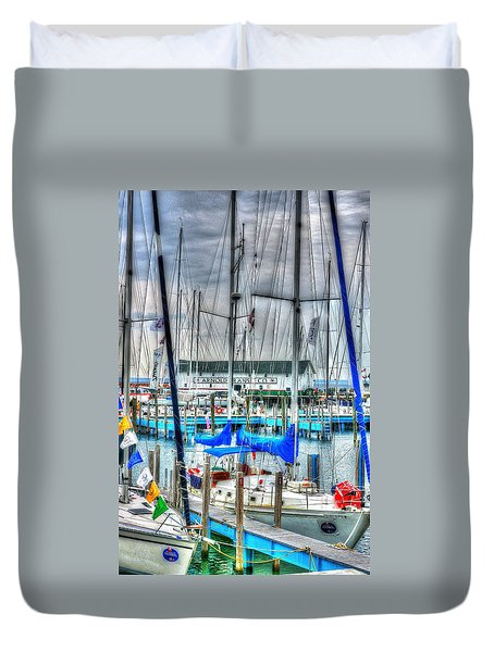 Mackinac Island Harbor Duvet Cover